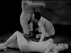 Vintage Porn 1920s FFM Trio - Nudist Bar