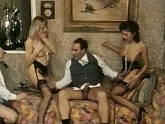 Three awesome sluts in vintage orgy porn