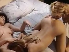 Lovely lesbian babes surrounding group sex