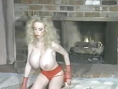 Sweet red lipstick and huge enactment knockers on battle-axe