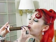 Scarlett Storm SMOKES a cigar