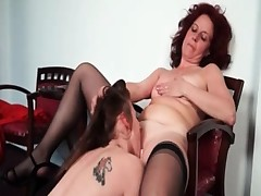 Nasty mature lesbian receives the brush horny part3
