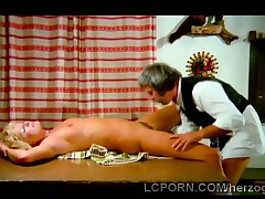 Vintage blonde cleaning man gets their way sweet pussy tongued