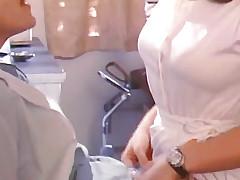 Mustachioed man kissing girlfriends pussy