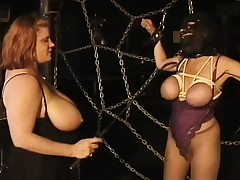 Massive tit landed gentry play mistress and slave in two scenes of playful torture