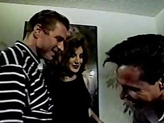 Celeste threesome upon Peter North and Woody Long