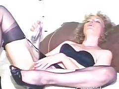Vintage dildo sex scene with curly be alive milf